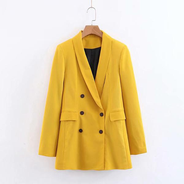 WT183 Printemps Eté Couleur vive Jaune Double sein Blazer Bureau dames Chic solide Blazers couleur Hauts Outwear