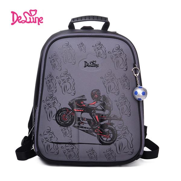 Delune Brand Cartoon Bag Children School Backpack for Boys Cool Motorcycle Style Orthopedic Backpack Children's Sport School bag