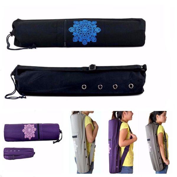 Durable Canvas Yoga Pilates Mat Carry Bag Adjustable Strap Drawstring Bag Sport Exercise Fitness Backpack for 6mm Yoga Mat