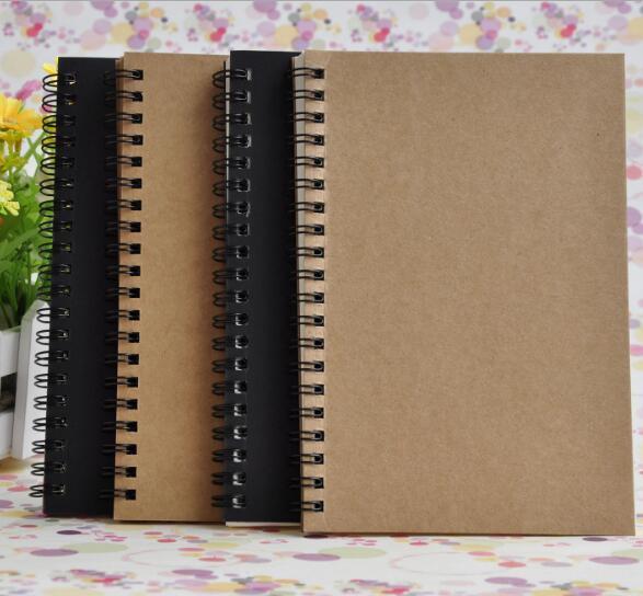 Портативный бизнес крафт бумаги Блокноты черный рисунок эскиз ноутбуков Спиральные поставщиков 100 листов журнальные блокноты школа офис отмечает книгу