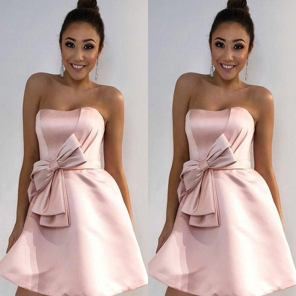Lovely Short Strapless Pink A Line Homecoming Dress Satin Sleeveless Short Mini Prom Dresses With Bow