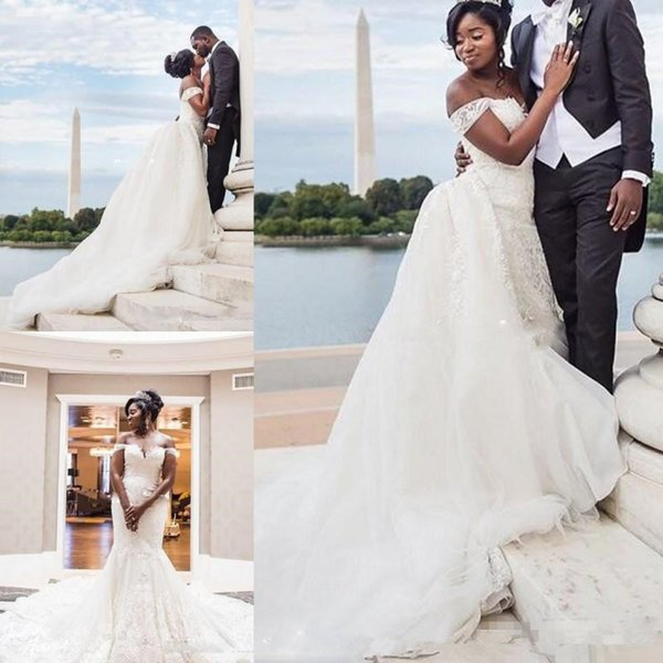 Sexy African Mermaid Beach Wedding Dresses with Detachable Train 2019 Plus Size Off Shoulder Lace Tulle Puffy Bridal Dress