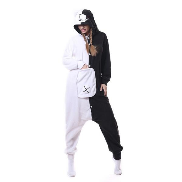 Novo Unisex Adulto Animal Monokuma Pijama Dos Desenhos Animados Urso Branco Preto Kigurumi Onesies Trajes Cosplay Macacões de Natal