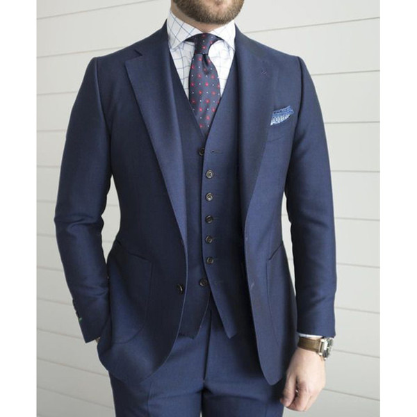 Navy Blue Wedding Men Suit for Formal Prom Party Tailor Made Groom Tuxedos 3 Piece Jacket Pants Vest Lastest Style Blazer