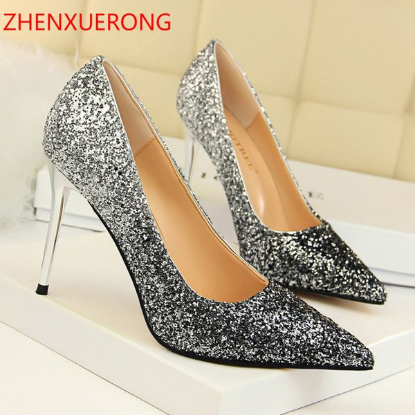 b89b4fd1e7e Dress 2019 New European And American Style Shoes High-heel Shallow Mouth  Pointed Sexy Slim