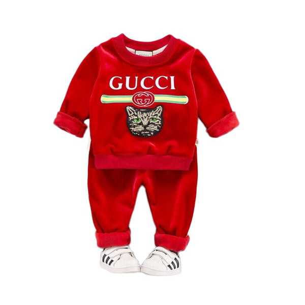 0-4T NEW In stock Baby Boys Clothes Suits Gentleman Style Kids Lovely round neck clothes +Pants 2 Pcs Infant Casual Suits Children Sets