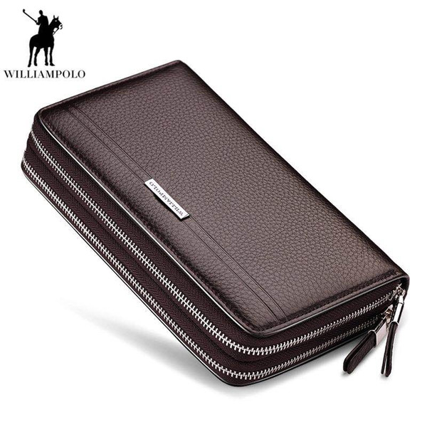 9615188e2b WILLIAMPOLO Leather Vintage Solid Clutch Bag Phone and Card Brand Mens  Wallet Double Zipper Genuine Leather