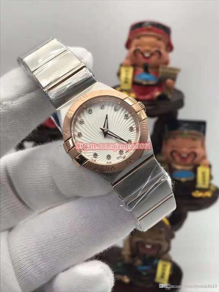 высокое качество роскошные качественные часы 28 мм constellation 123.20.Мать жемчуг золото алмазный круг безель из нержавеющей стали кварцевые женские часы 05