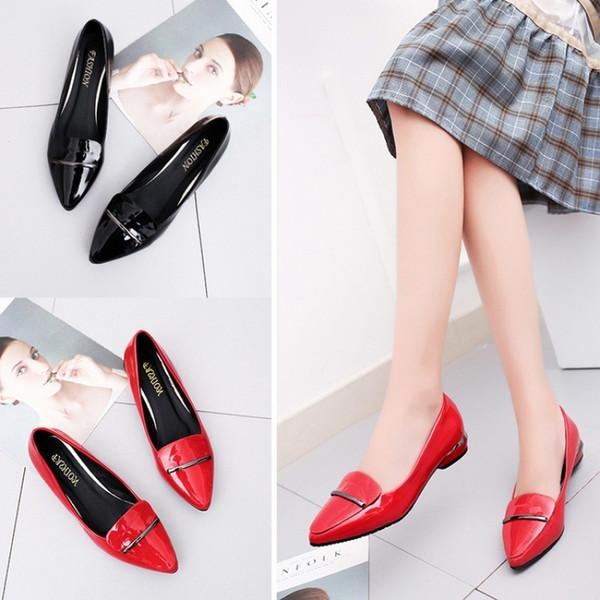 De64 Chaussures En SkybelleDHgate Soulier Travail Pointues Free2019 Com Du Acheter Rouge Chaussures Cuir Des Verni De 19 De Avec Noires Petit 3KFTl1cJ