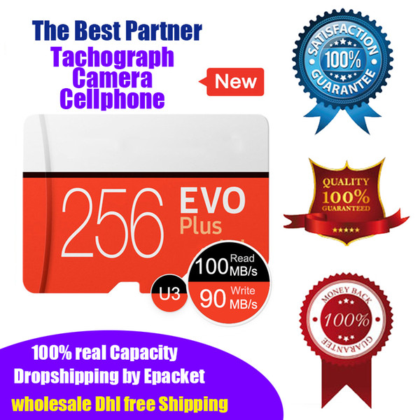 100 real capacity 256gb micro d memory card u3 high peed micro d card 256g tachograph tf card with package uh i epacket dhl hipping