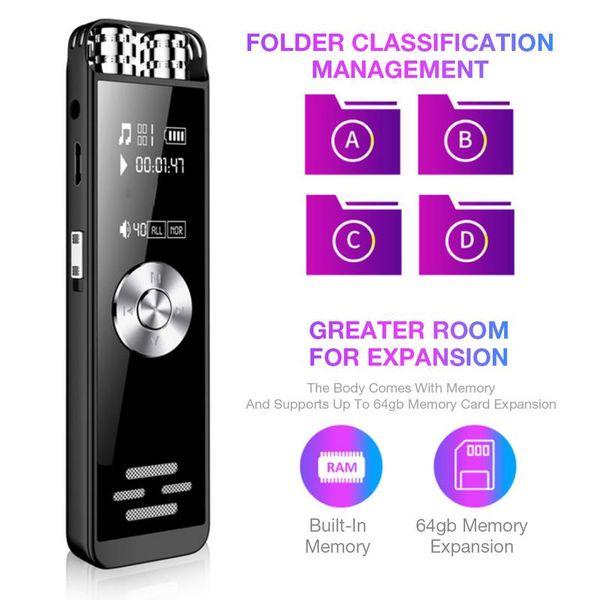 Grabadora de voz digital Micrófono dual Grabador activado por sonido de dictáfono Audio HD recargable para entrevistas Discutir