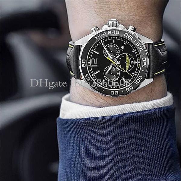 Nueva 43mm Deporte ASTON MARTIN reloj de carreras VK movimiento de cuarzo cronógrafo Caja de acero Negro Dial correa de cuero reloj de pulsera hombre
