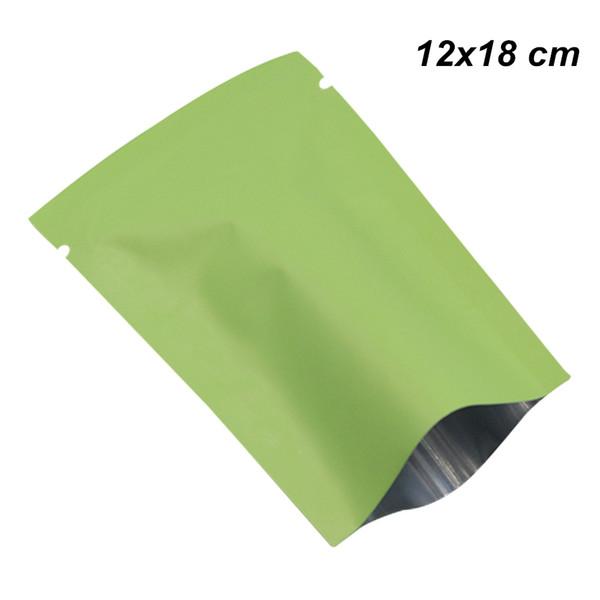 12x18cm Matte Green Open Top Aluminum Foil Vacuum Heat Seal Packaging Bag Mylar Foil Heat Sealing Vacuum Storage Pouch for Coffee Tea Powder