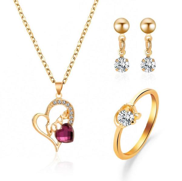 Conjuntos de joyas pendientes anillo collar Carta de AMOR Forma de corazón púrpura blanco cristal ajuste color dorado plateado cadena de metal