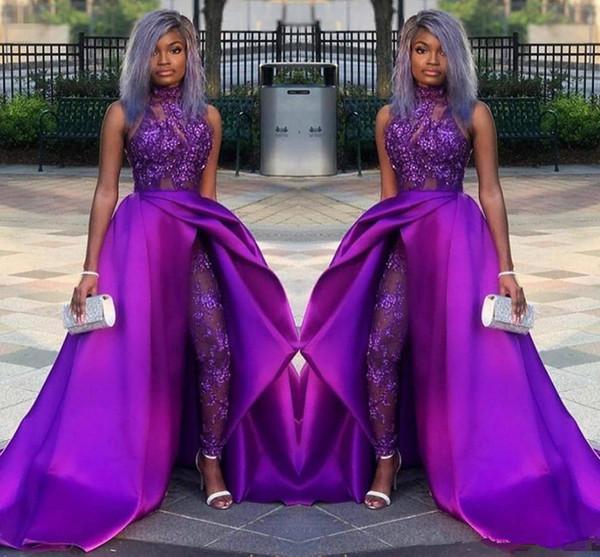 2020 Trajes Partido Africano clásico Monos largos vestidos de baile Con desmontable de tren de cuello alto de encaje apliques de bolas vestidos de noche de lujo de las mujeres de las bragas