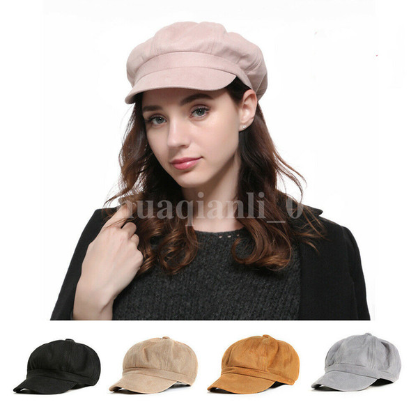 40880d0a New Ladies Womens Girls Fashion Casual Chic Solid Newsboy Boy Peaked Cap  Summer Newsboy Cap