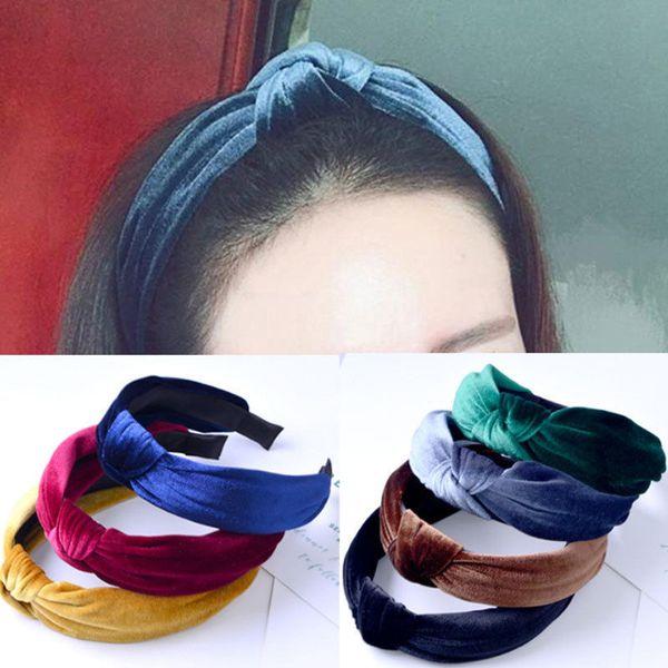 Новая мода крест повязка на голову женщины витая тюрбан волос группа стрейч завязанный бархатный обруч для волос аксессуары для волос головной убор