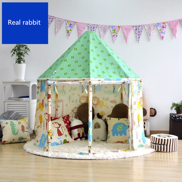 [TOP] Indoor outdoor fairy tale House tent Pure cotton cloth + wooden pole assembly yurt foldable child park game play tent