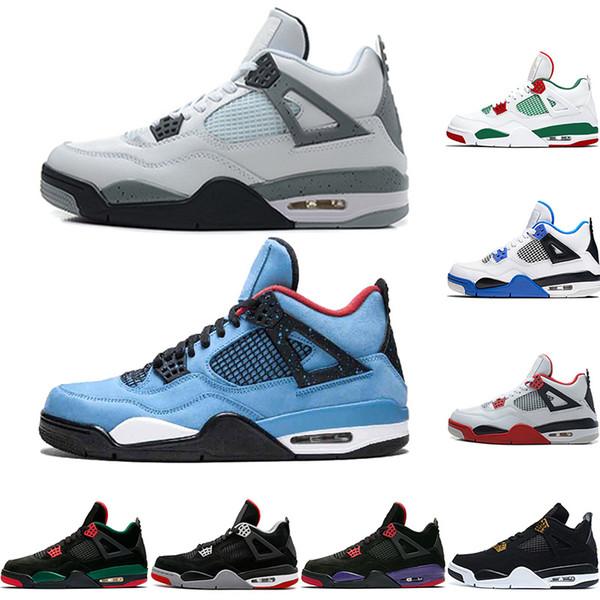 2019 New 4 4s Men Basketball Shoes OG Bred For 2019 Cactus Jack Houston Oilers Mens Designer Trainer Sport Sneakers Size 41-47