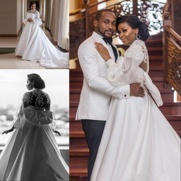 Africano Menina Preta Plus Size A Linha de Vestidos de Noiva de Cetim Gola Alta lanterna de Manga Longa Grande Arco lace Sash Frisado Nupcial Vestidos De Casamento