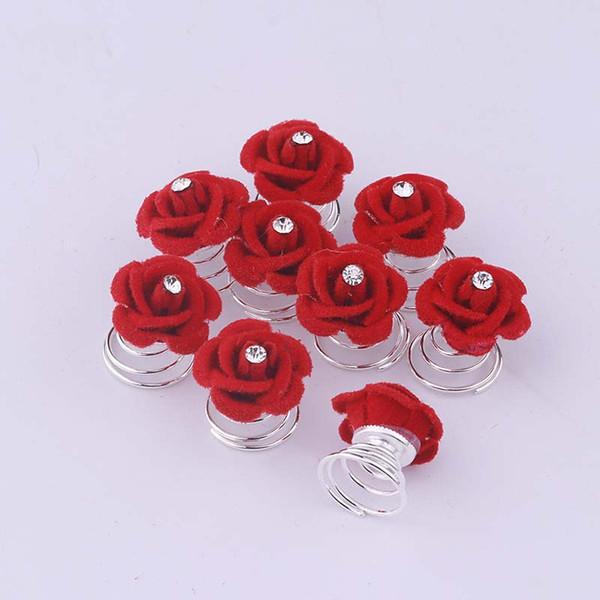 Sellsets Saç Takı Düğün Aksesuarları Gelinlik Gelin Firkete Toptan 12 adet Kırmızı Gül Çiçek Twists Döndürme Saç Pins