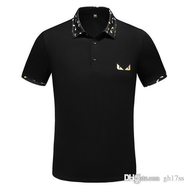 2019 Marque polo chemises FF shirt mode designer italien petit monstre broderie coton à manches courtes POLO T-shirt pour homme PO