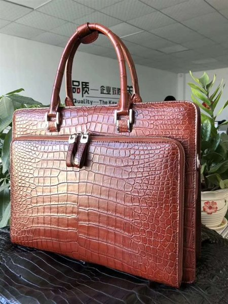 2018 newly Luxury quality genuine real crocodile skin belly leather men business briefcase bag laptop bag tan blue black color #205357