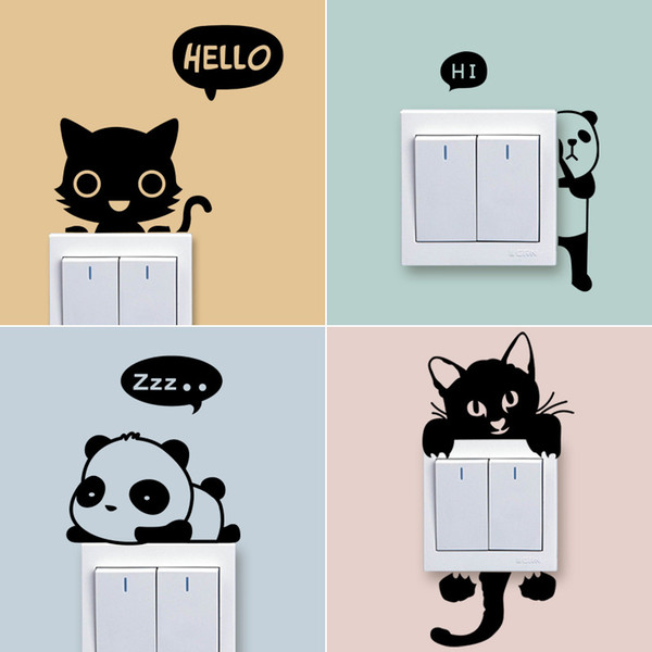 Cartoon Light Switch Color Wall Stickers For Kids Rooms Bedroom Removable Switch Wall Art Decals Home Decor cny1462