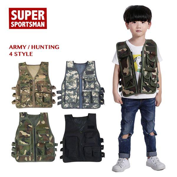 Crianças Camuflagem Sniper colete de caça Roupas Crianças Boy Girl Woodland Ghillie Suit Army Tactical Uniforme Vestuário combate de selva