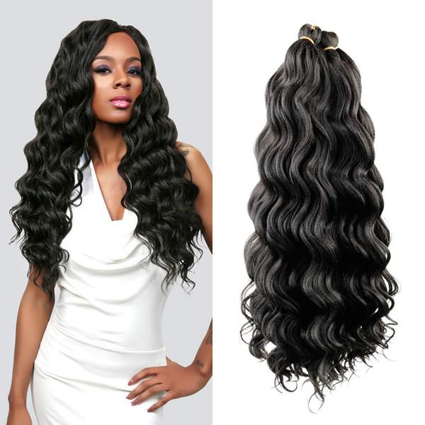 Hot! 1Pcs 20Inch Ocean Wave Synthetic Hair Natural Black Braids Water Weave Deep Twist Crochet Braids Hair Extensions for Women
