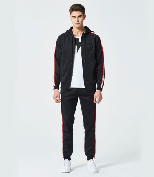Mens Winter Autumn 2 Pieces Tracksuits Outdoor Casual Fashion Suits Side Striped Badge Long Pants Hooded Cardigan Jackets Coats Outfits