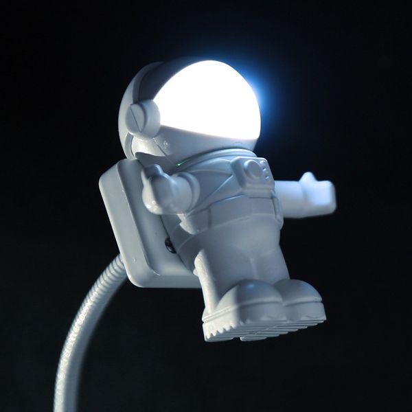 Spaziatore flessibile bianco Astronauta USB Tubo LED Lampada per luce notturna per computer portatile PC Notebook Lettura portatile DC 5V