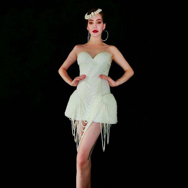 Weiß-Perlen-Bühne Kostüme für Sänger Outfit Abend Stage Show Kostüm Prom Geburtstag Bar Frauen Sänger Kleidung Sexy Kleid