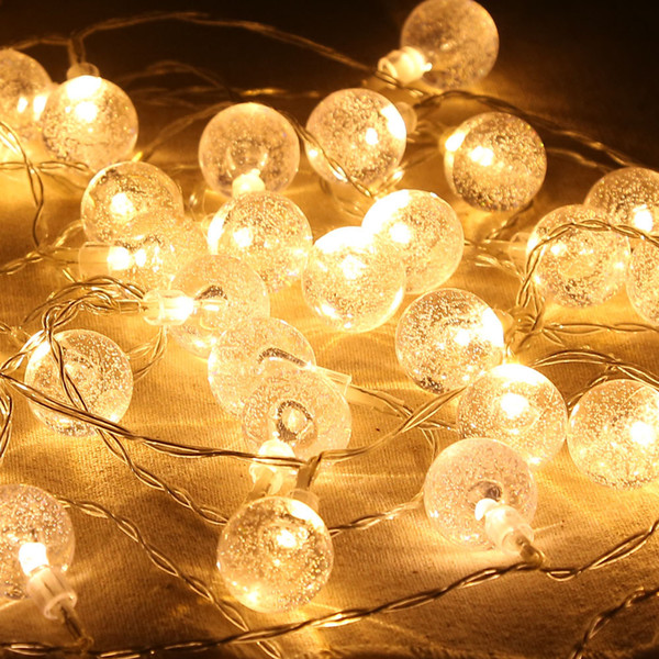 reputable site bbe60 58193 20 Led Bubble Crystal Ball Waterproof LED Globe String Lights Battery  Operated Indoor Outdoor Decorative Fairy Lights White Led String Lights Led  ...