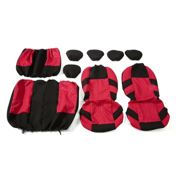 9 Pcs/Set Car Interior Styling Seat Covers Washable Protective Cushion Durable & Comfortable Breathable 3D Air Mesh Fabric Color: red