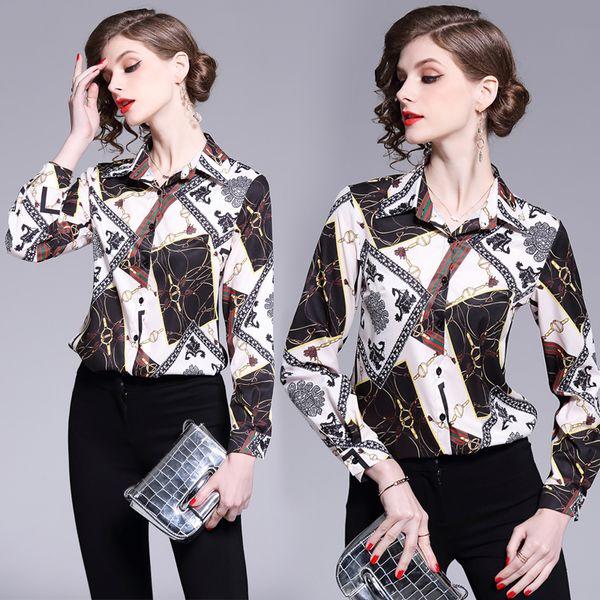 2019 frühling Sommer Herbstmode Luxus Blumendruck Kragen Frauen Casual OL Büro Taste Vorne Langarm Top Hemd Bluse
