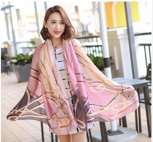 Factory sale Silk scarf for Women 2019 New Designer Hemming Long Scarves Shawls Wrap With Tag 180x90Cm Shawls Collar Headbands