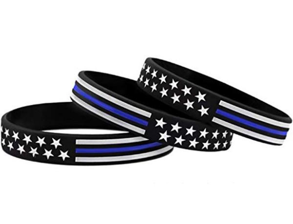 Силиконовые браслеты Thin Blue Line с американским флагом Мягкие и гибкие, отлично подходят для повседневного ношения