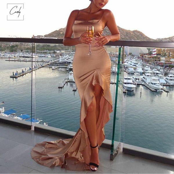Robe irrégulière Volants sexy longue Maxi Noël Femmes Rouge de Split Backless Robe moulante Satin Party Dress 2019