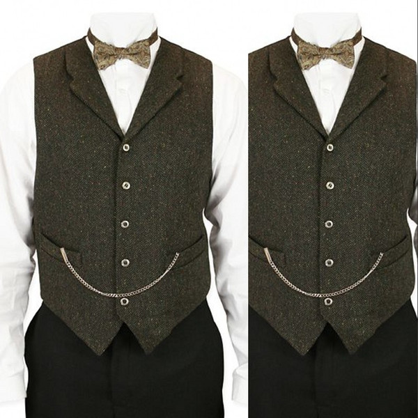 Green Wool Wedding Vest 2019 Chains Groom Vests British Style Mens Suit Vests Farm Wedding Waistcoat Mens Dress Vests Plus Size