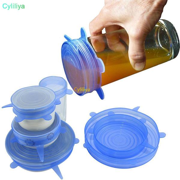 6 Teile / satz Wiederverwendbare Universal Silikon Saran Wrap Deckel Futternapf Topf Stretch Küche Vakuumdichtung Schalen