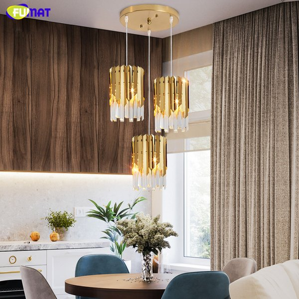 FUMAT Modern Luxury Gold Crystal Small Round Chandeliers For Dining Room  Bedroom Chandelier Lighting Kitchen Island Led Light Fixtures Kitchen  Pendant ...