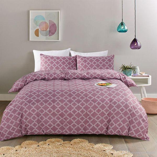 2018 Sale Simple Style Boho Pink Duvet Cover Set 3Pcs Microfiber Fabric Striped Geometric Twin Queen King Duvet Covers Home Bedding Set