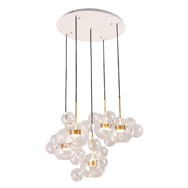 Modern Clear Glass Led Pendant Lamp Soap Bubble Ball Fixtures Indoor Lighting Lustre luminaria Hanging Lamp AC 85-265V