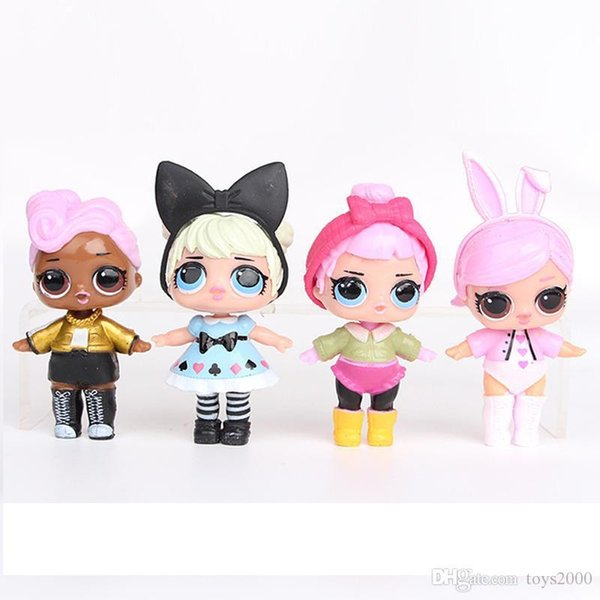 9CM LoL Doll with feeding bottle American PVC Kawaii Children Toys Anime Action Figures Realistic Reborn Dolls for girls 8Pcs lot K0194