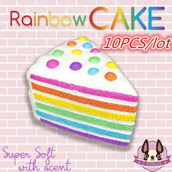 10Pcs /Lot Wholesale Kawaii Squishy Rainbow Cream Cake Slow Rising Squishy Jumbo Scented Bread Fun Kid Gift Toy Retail Packaging