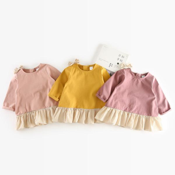WNLEIGEL Girls spring autumn patchwork dresses kids cotton pink yellow red dress baby casual all match clothes children 1-4T