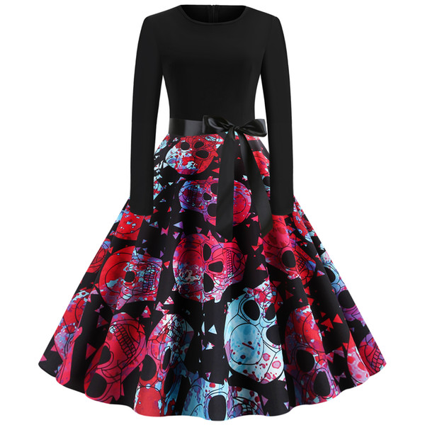 Womens clothing ladies fitted slim Halloween bloody skull print plus big size dress Formal Prom Cocktail Ball Gown Evening Party Dress 5912