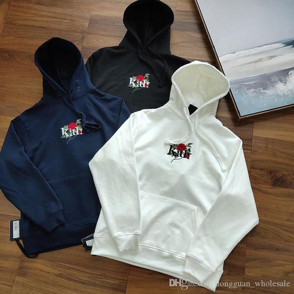 Streetwear KITH Sweatshirts Hommes Femmes 1k: 1 Rose Kith broderie à capuche meilleure qualité Automne Hiver chaud Bleu marine Kith Pull