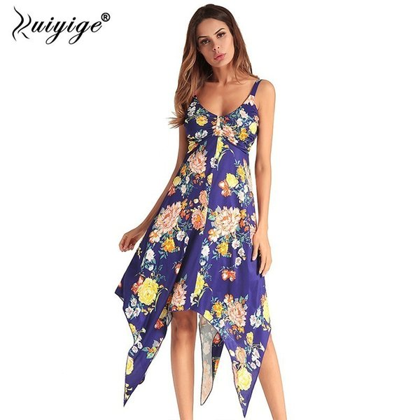 2018 Summer Off Shoulder Backless Dresses Floral Print Spaghetti Strap Elastic Sexy Holiday Women Midi Bench Vestidos T190606